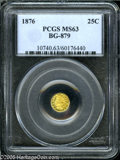 California Fractional Gold: , 1876 25C Indian Round 25 Cents, BG-879, R.4, MS63 PCGS. Pop: (P20/34, N 0/0)....