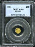 California Fractional Gold: , 1881 25C Indian Round 25 Cents, BG-886, High R.5, MS63 PCGS. Pop:(P 10/14, N 0/0)....