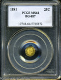 California Fractional Gold: , 1881 25C Indian Round 25 Cents, BG-887, R.3, MS64 PCGS. Pop: (P64/24, N 0/0)....
