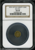 California Fractional Gold: , 1876 50C Liberty Octagonal 50 Cents, BG-932, High R.4, AU58 NGC.Pop: (P 3/37, N 0/0)....