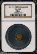 California Fractional Gold: , 1876/6876 50C Indian Octagonal 50 Cents, BG-935, R.5, MS63 NGC.Pop: (P 10/9, N 0/0)....