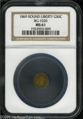 California Fractional Gold: , 1869 50C Liberty Round 50 Cents, BG-1020, Low R.4, MS61 NGC. Pop:(P 11/42, N 0/0)....
