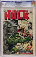 Silver Age (1956-1969):Superhero, The Incredible Hulk #5 (Marvel, 1963) CGC NM- 9.2 Off-white towhite pages. Of the main Silver Age Marvel superhero books, ...
