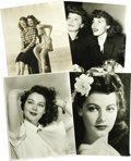 "Movie/TV Memorabilia:Photos, Ava Gardner Vintage photos from the '40s. Set of four b&w 8"" x10"" photos includes two gorgeous close-ups of Gardner, as wel..."