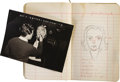 """Movie/TV Memorabilia:Memorabilia, Emile LaVigne Make-Up Sketch Book from 1938, Noting his UncreditedWork on """"The Wizard of Oz"""". Two of MGM's most beloved pro..."""