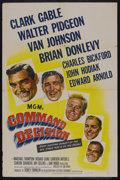 "Movie Posters:War, Command Decision (MGM, 1948). One Sheet (27"" X 41""). War. StarringClark Gable, Walter Pidgeon, Van Johnson, Brian Donlevy, ..."