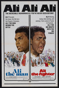 "Ali The Man: Ali The Fighter (CineAmerica Releases, 1975). One Sheet (27"" X 41""). Sports Documentary. Starring..."