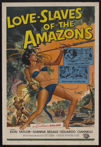 "Love Slaves of the Amazons (Universal, 1957). One Sheet (27"" X 41""). Adventure. Starring Don Taylor, Gianna Se..."
