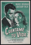 """Movie Posters:Hitchcock, Spellbound (United Artists, R-1950s). Argentinean One Sheet (29"""" X43.5""""). Hitchcock Thriller. Starring Gregory Peck, Ingrid..."""