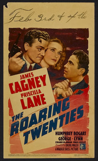 "Roaring Twenties (Warner Brothers, 1939). Midget Window Card (8"" X 14""). This last of the '30s gangster films..."