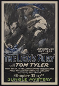 "Movie Posters:Serial, Jungle Mystery (Universal, 1932). One Sheet (27"" X 41"") Chapter 11 -- ""The Lion's Fury."" Adventure Serial. Starring Tom Tyle..."