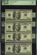 Error Notes:Blank Reverse (<100%), Fr. 2175-G $100 1996 Federal Reserve Notes. Four Examples PCGSExtremely Fine 45, PCGS About New 50.. Three notes in this gr...(Total: 4 notes)