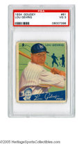 Baseball Cards:Singles (1930-1939), 1934 Goudey Lou Gehrig #61 PSA VG 3. Classic Big Three set card of the New York Yankee Hall of Famer....