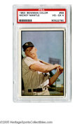 Baseball Cards:Singles (1950-1959), 1953 Bowman Color Mickey Mantle #59 PSA VG-EX 4. Nice example ofthis important car showing the Mick in a classic pose....