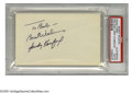 "Autographs:Index Cards, Sandy Koufax Signed Index Card. Dodger Hall of Fame pitcher Sandy Koufax signed 3x5"" unlined index card in excellent black i..."
