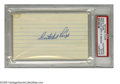 "Autographs:Index Cards, Satchel Paige Signed Index Card. Legendary pitcher Satchel Paige signed 3x5"" lined index card in strong blue ink. Slabbed ..."