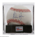Autographs:Baseballs, Nolan Ryan Single Signed Baseball, PSA 10. Exceptional blue inksweet spot signature rates a perfect 10, while OML ball rate...