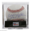 Autographs:Baseballs, Billy Williams Single Signed Baseball, PSA 9. Exceptional blue inksweet spot signature rates a 9, while OML ball rates a PS...
