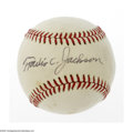 Autographs:Baseballs, Travis Jackson Single Signed Baseball. OAL (Feeney) slightlystained baseball offers 9/10 black ink sweet spot signature fro...