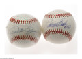 Autographs:Baseballs, Johnny Bench & Pete Rose Single Signed Baseballs. Perfect blueink sweet spot signatures from Johnny Bench on a MLB (Selig) ...