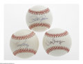 Autographs:Baseballs, Pete Rose, Tony Perez and Manager Joe Morgan Single SignedBaseballs. Great trio of sweet spot signed officilal leaguebaseb... (3 Items)