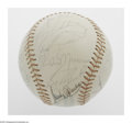 """Autographs:Baseballs, 1975 New York Yankees Team Signed Ball. OAL (MacPhail) ball offers twenty-three signatures from such stars as Jim """"Catfish"""" ..."""