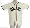 Autographs:Jerseys, Two Signed Negro League Replica Jerseys. Beautiful Homestead Grays replica jersey signed in perfect blue ink by star pitcher...