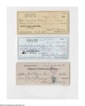 Autographs:Checks, Rick Ferrell, Jackie Jensen & George Kelly Signed Checks. Threesigned checks in excellent condition from these former major...