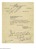 Autographs:Letters, Edward G. Barrow Signed Yankee Team Letter . Official New YorkYankees team letter signed on June 18th, 1924 by E.G. Barrow;...