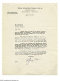 Autographs:Letters, George Weiss Signed Letter. April 29, 1940 black ink signed typed letter by New York Yankees Vice President George Weiss. Le...