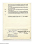 Autographs:Others, 1972 Oakland A's Contract Signed By Charlie Finley & Joe Cronin. Official American League contract dated March 16th 1972 sig...