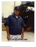 Autographs:Photos, Ted Williams Signed Photograph. Great Spring training 8x10 colorphoto of Ted Williams signed in perfect blue sharpie. LOA...