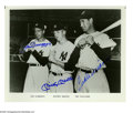 Autographs:Photos, Joe DiMaggio, Mickey Mantle and Ted Williams Signed Photograph.Beautiful black and white 8x10 blue sharpie signed photo of ...