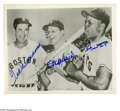 Autographs:Photos, Ted Williams, Stan Musial & Willie Mays Signed Photograph. Great 8x10 photo of this great trio of Hall of Fame sluggers sign...
