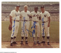 Autographs:Photos, Joe DiMaggio, Mickey Mantle, Willie Mays and Duke Snider Signed Photograph. Impressive 8x10 color image of legendary players...
