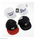 Autographs:Others, Tony Gwynn, Warren Spahn, George Brett and Richard Petty Signed Hats Lot of 4. Great collection of signed hats from Baseball...