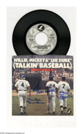 """Autographs:Others, Duke Snider, Willie Mays & Mickey Mantle Signed Record Sleeve.Autographed record sleeve of Terry Cashman's hit song """"Willie..."""