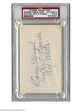 Autographs:Index Cards, Casey Stengel Signed Index Card from the Casey Stengel Collection. Impressive 3x5 index card contains the autograph of the l...