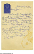 Autographs:Letters, Casey Stengel Signed Letter from the Casey Stengel Collection.August 16, 1972 10/10 blue ink letter written on Casey Stenge...