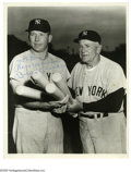 "Autographs:Photos, Mickey Mantle Signed Photograph from the Casey Stengel Collection.Fantastic glossy 8""x 10"" photo is signed by the Hall of F..."