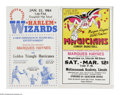Basketball Collectibles:Others, Harlem Wizards and Magicians Broadsides Lot of 2. Two 14x22 colorful broadsides from Marques Haynes personal collection. On...