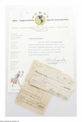 Basketball Collectibles:Others, Abe Saperstein Signed Document. William Spivey player release formfrom September 15, 1955 signed in 10/10 black ink by Harl...