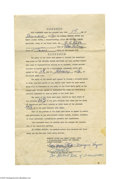 """Basketball Collectibles:Others, Marques Haynes & Reese """"Goose"""" Tatum Signed Agreement. ThisDecember 1, 1956 agreement, which measures 8 1/2"""" x 14,"""" between..."""