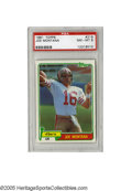 Football Cards:Singles (1970-Now), 1981 Topps Joe Montana #216 PSA NM-MT 8. Rookie card of SanFrancisco 49ers legendary HOF QB Joe Montana. Card displays 4 sh...