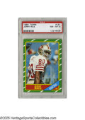 Football Cards:Singles (1970-Now), 1986 Topps Jerry Rice Rookie Card #161 PSA NM-MT 8. High graderookie and key card of the greatest receiver to wear an NFL u...