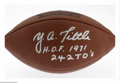Football Collectibles:Balls, Y.A.Tittle Signed Football. Perfect silver sharpie signature from this New York Giants quarterback great finds a home on an ...