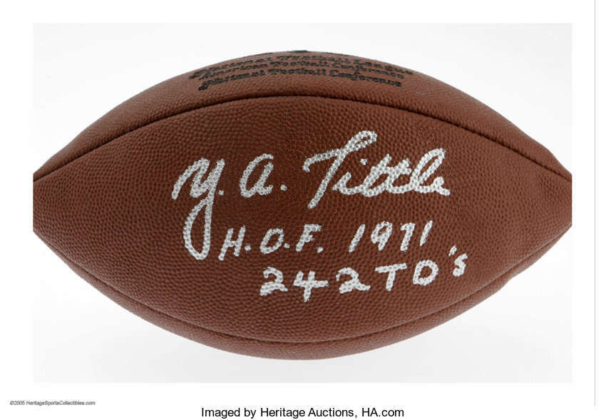 Y.A.Tittle Signed Football. Perfect silver sharpie signature  29297e29c