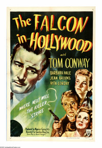 """The Falcon in Hollywood (RKO, 1944). One Sheet (27"""" X 41""""). Amateur sleuth Tom Lawrence (Tom Conway) investiga..."""