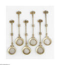 Other:Western, Six Silver Spoons. Maker unknown, c.1900. The group of six spoonsformed from various coins, the bowls parcel gilt, the ha... (5Items)