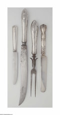 Other:American, A Group of American Silver Knives and a Carving Set. Variousmakers, c.1900. The group consisting of a hammered handle car...(14 Items)